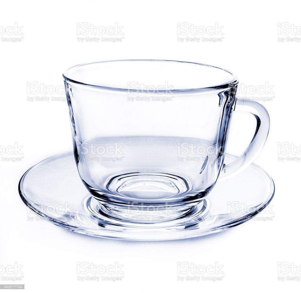 Transparent empty tea cup stock photo