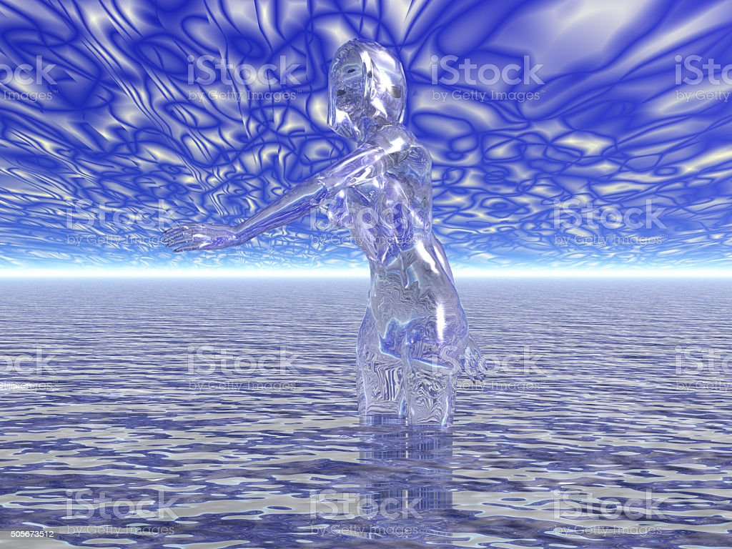 transparent figure in water vector art illustration