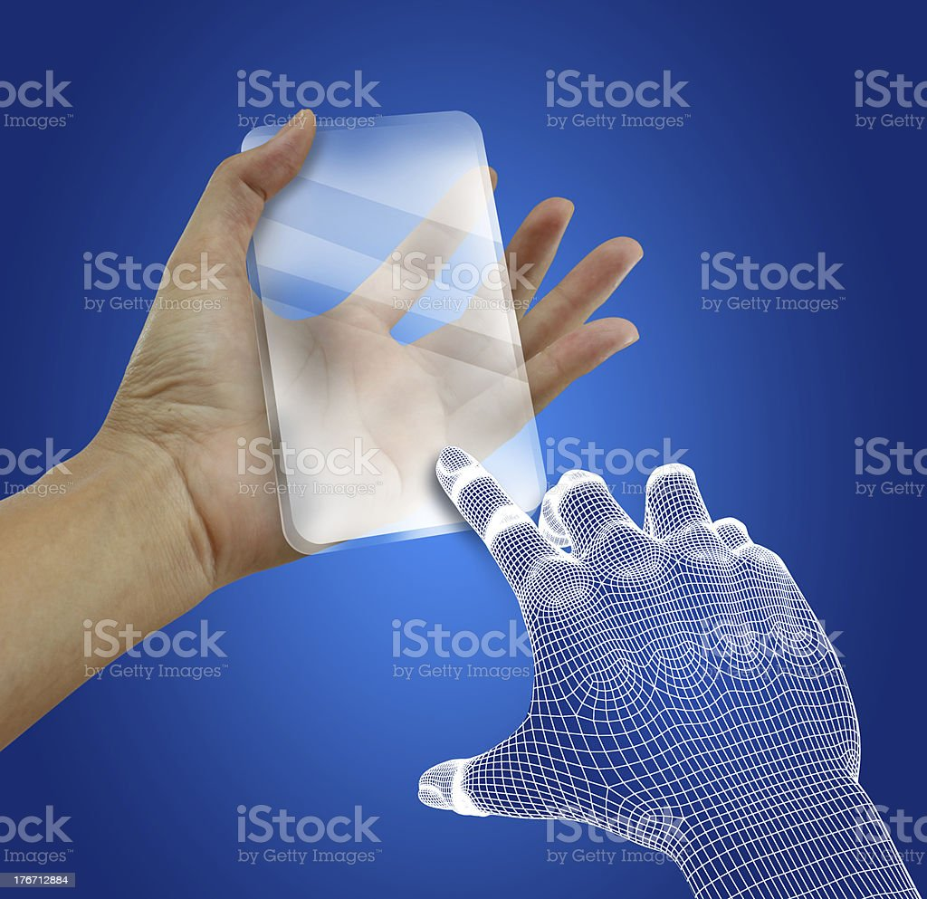 Transparent future mobile phone in hands. Concept. stock photo