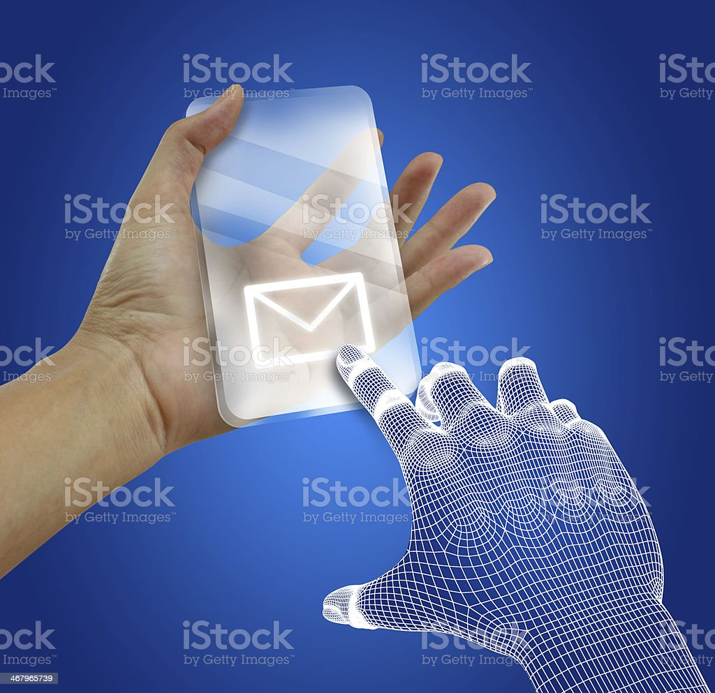 Transparent future mobile phone in hands stock photo
