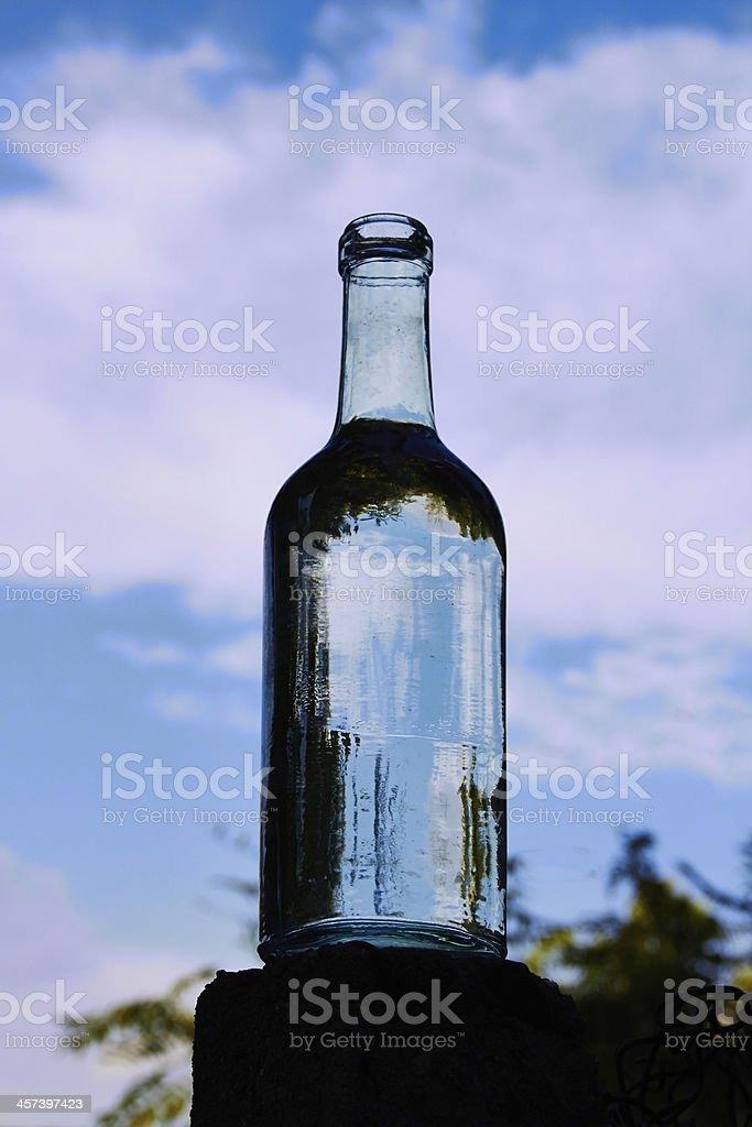 transparent glass bottle royalty-free stock photo