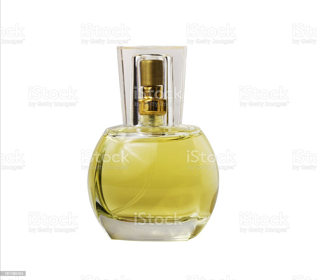 Transparent glass bottle with perfume royalty-free stock photo