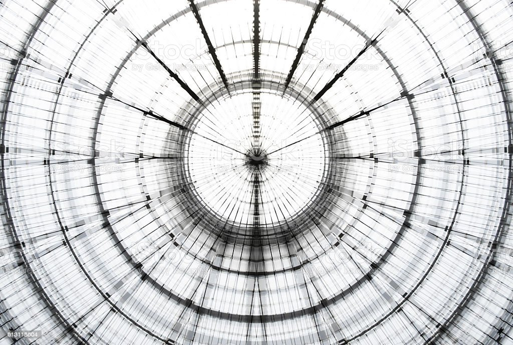 Transparent glass ceiling. Double exposure photo of modern architecture fragment. stock photo