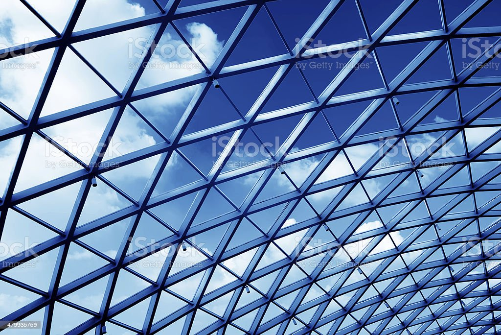 Transparent glass ceiling stock photo
