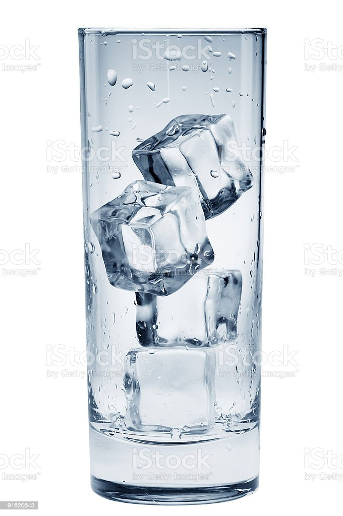 Transparent glass with ice cubes royalty-free stock photo