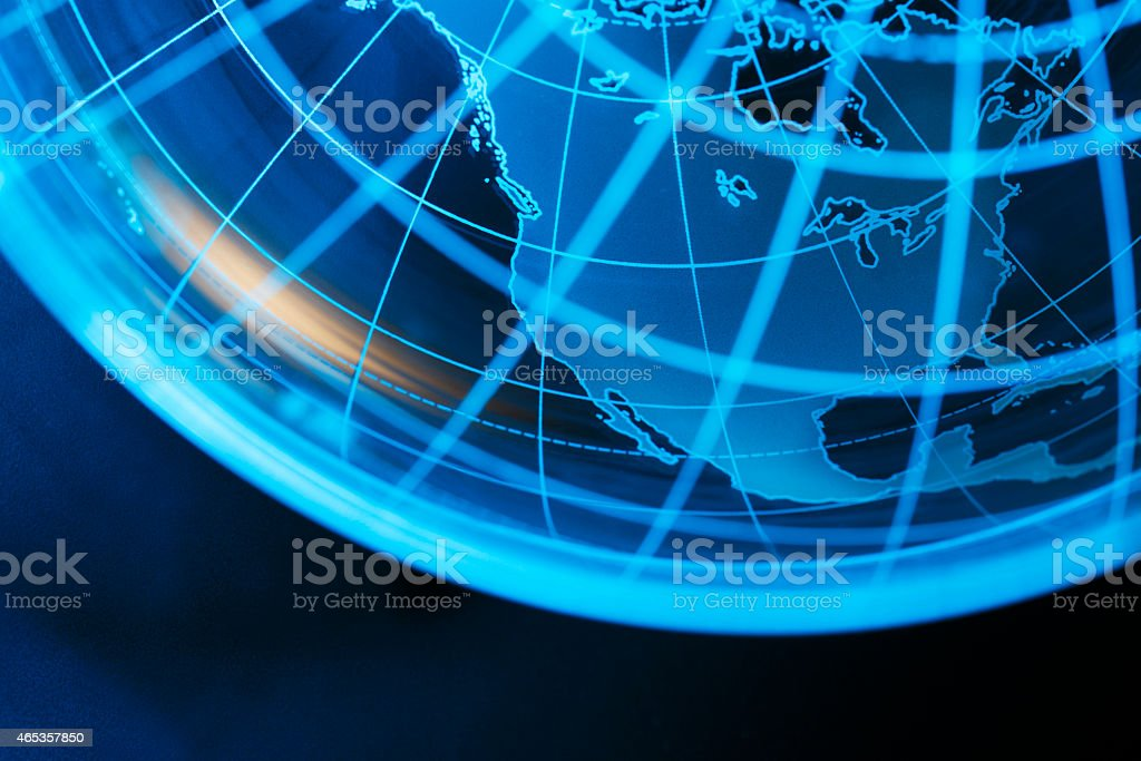 Transparent globe showing North America stock photo