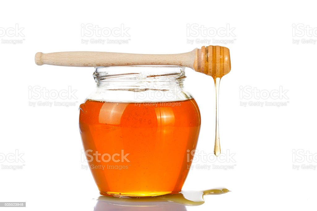 transparent honey and drizzler stock photo