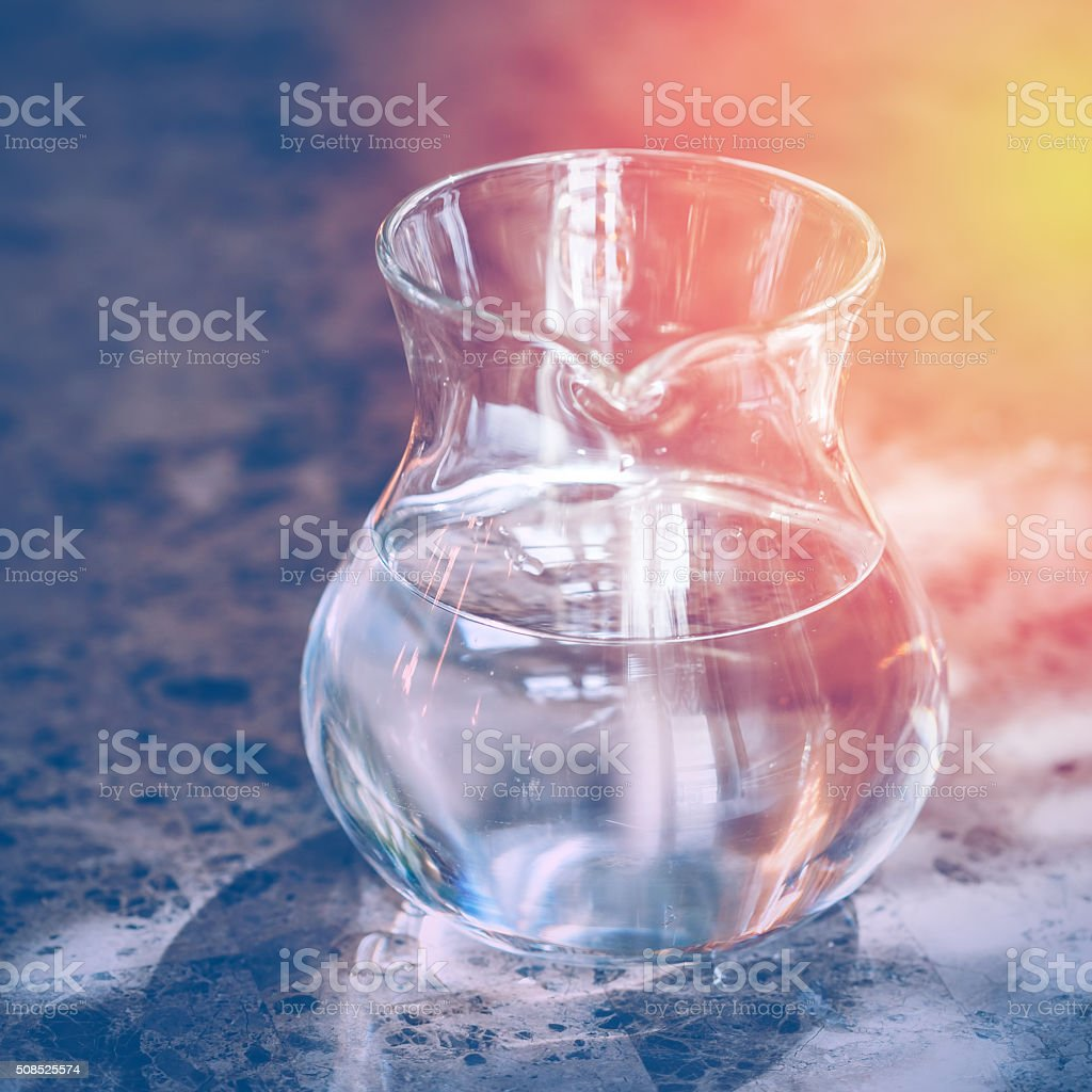 Transparent Jug with Two Liters of Drinking Water stock photo