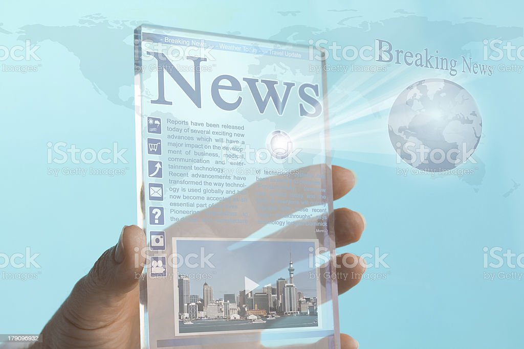 Transparent Mini Computer Tablet Phone of the Future stock photo