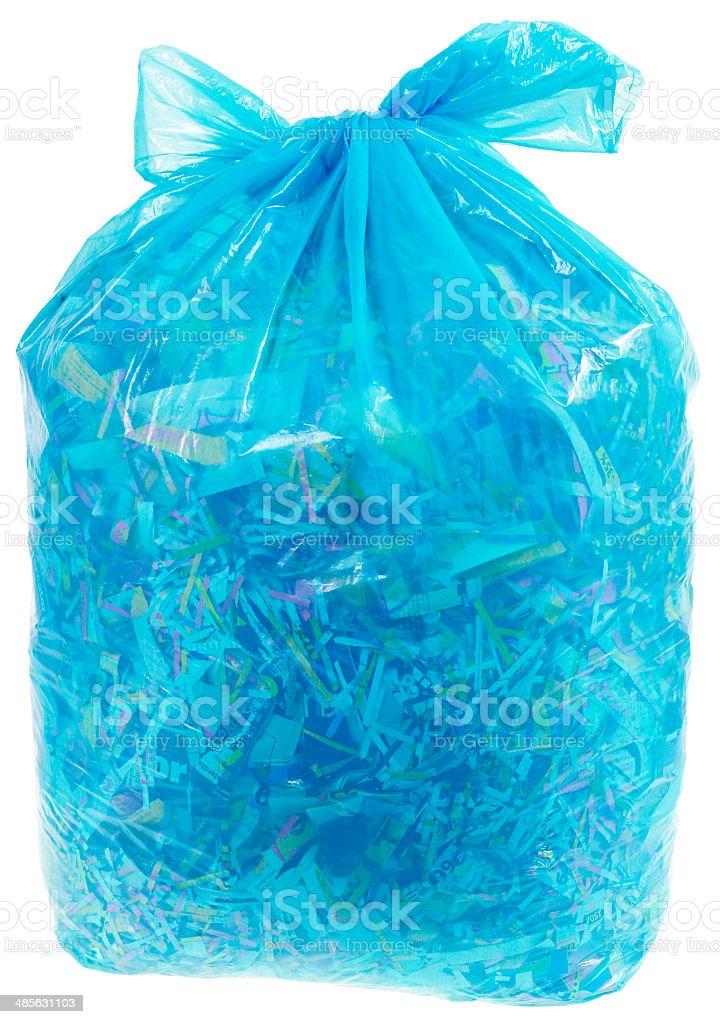 Transparent Plastic Bag with Paper Shreddings stock photo