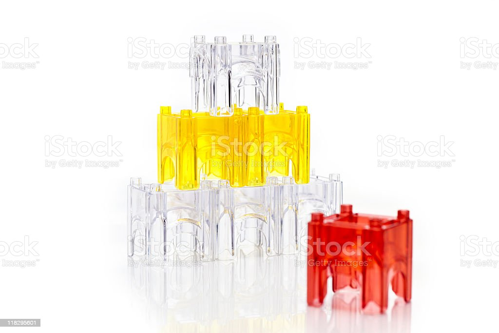 Transparent plastic building blocks royalty-free stock photo