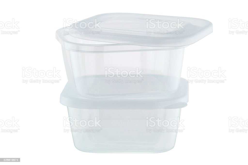 Transparent plastic food storage containers isolated on white stock photo