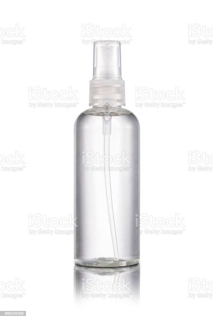 Transparent plastic spray bottle stock photo