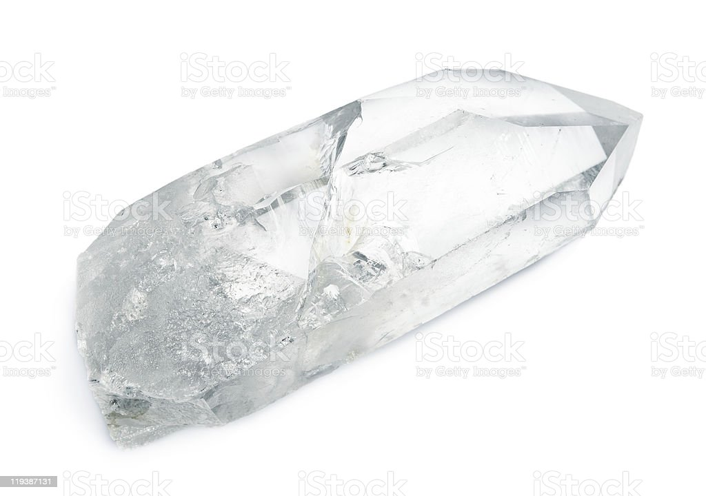 A transparent quartz crystal with a triangular end royalty-free stock photo