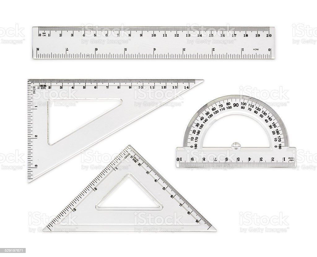 Transparent rulers isolated on white background stock photo