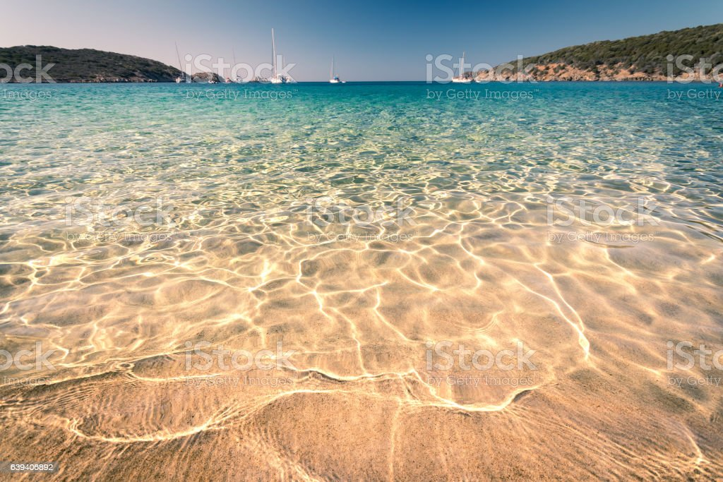 Transparent sea and crystal clear water of Sardinia. stock photo
