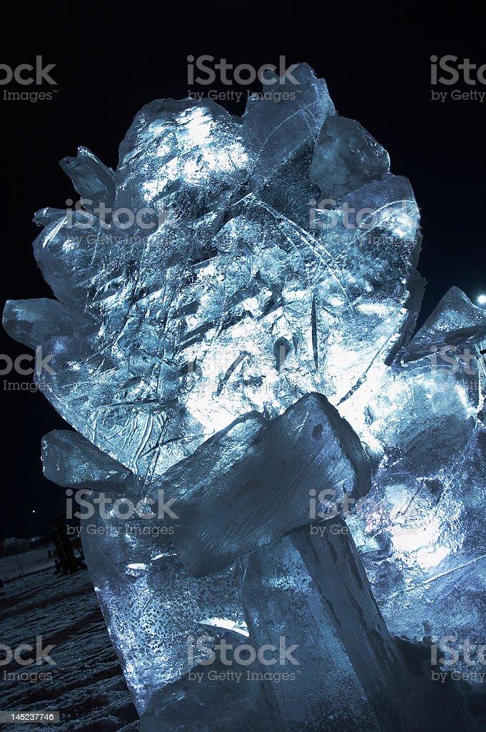 Transparent shone ice sculpture stock photo