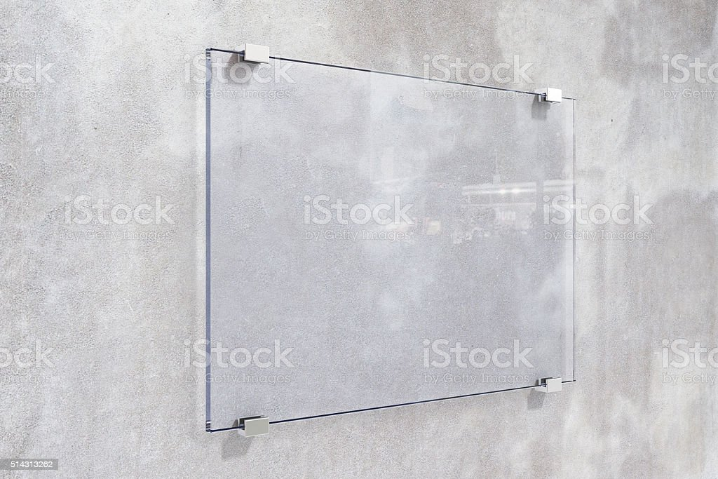 Transparent signboard on concrete wall, mock up stock photo