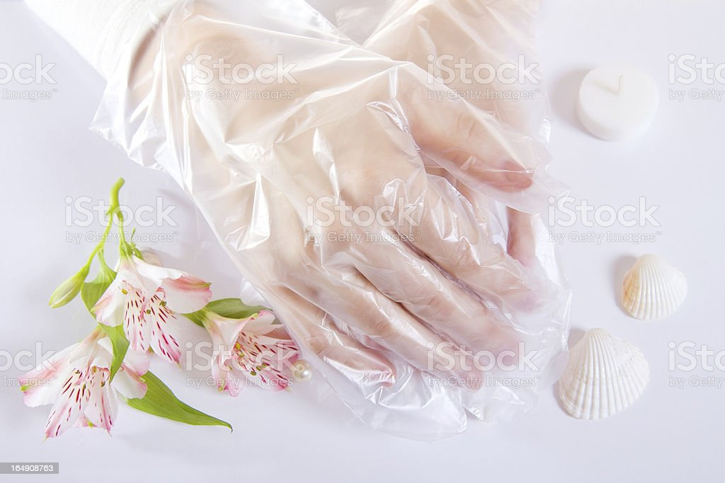 Transparent single use gloves royalty-free stock photo