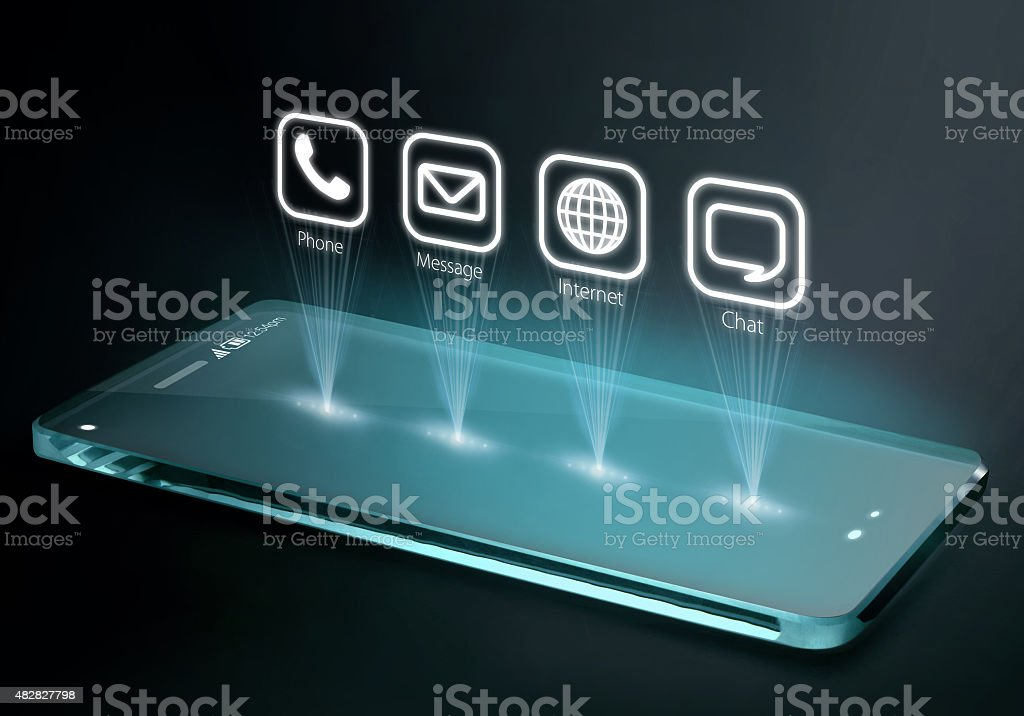 Transparent smartphone with apps on three dimensional screen stock photo