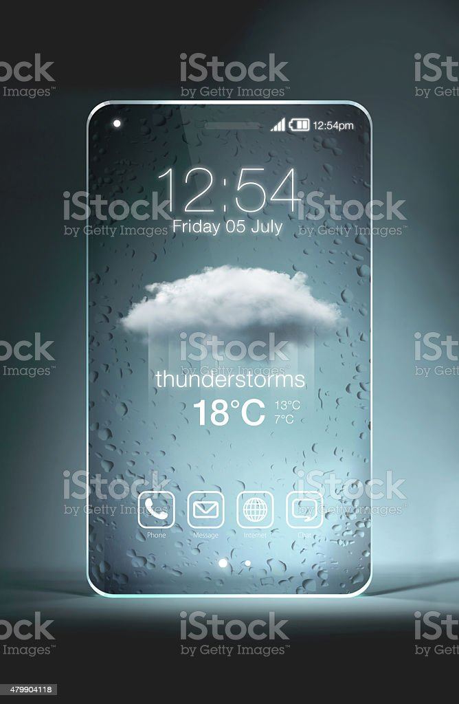 Transparent smartphone with thunderstroms icon on blue background stock photo