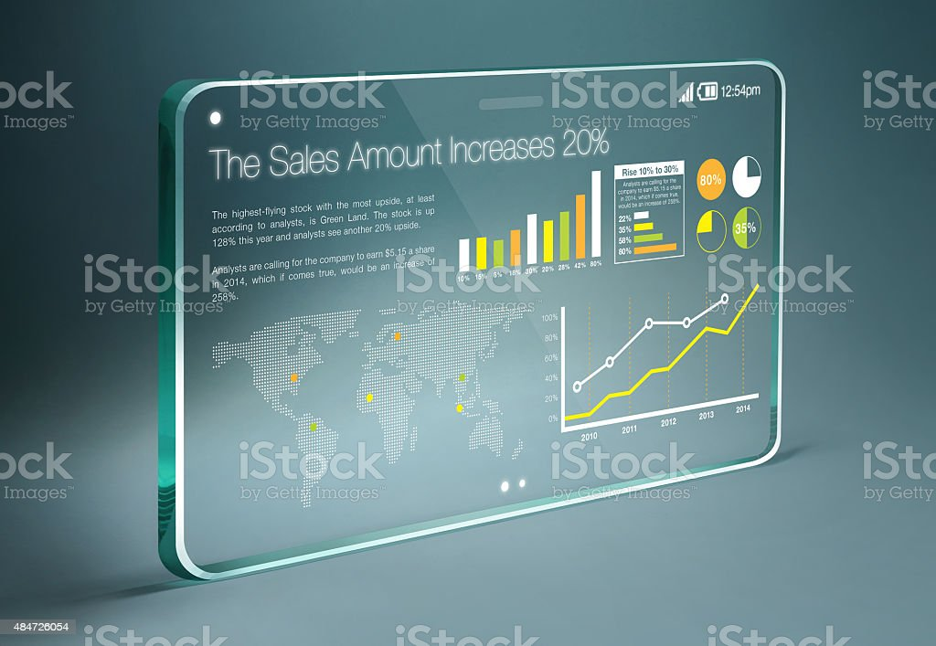 Transparent tablet with colorful business information on screen stock photo