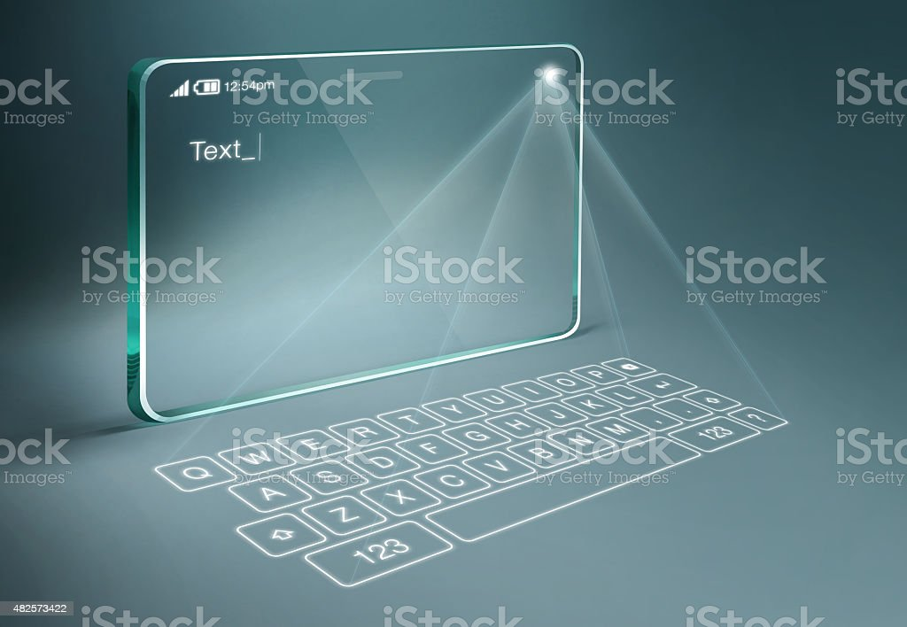 Transparent tablet with digital virtual keyboard stock photo