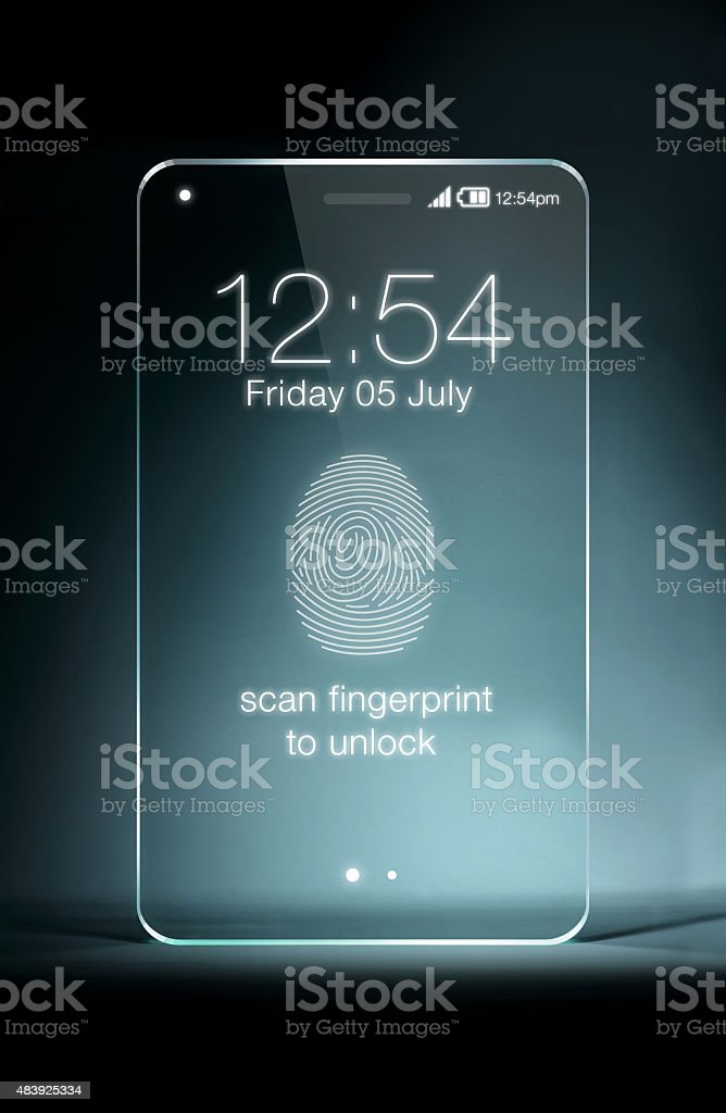 Transparent tablet with fingerpeint icon on blue background stock photo