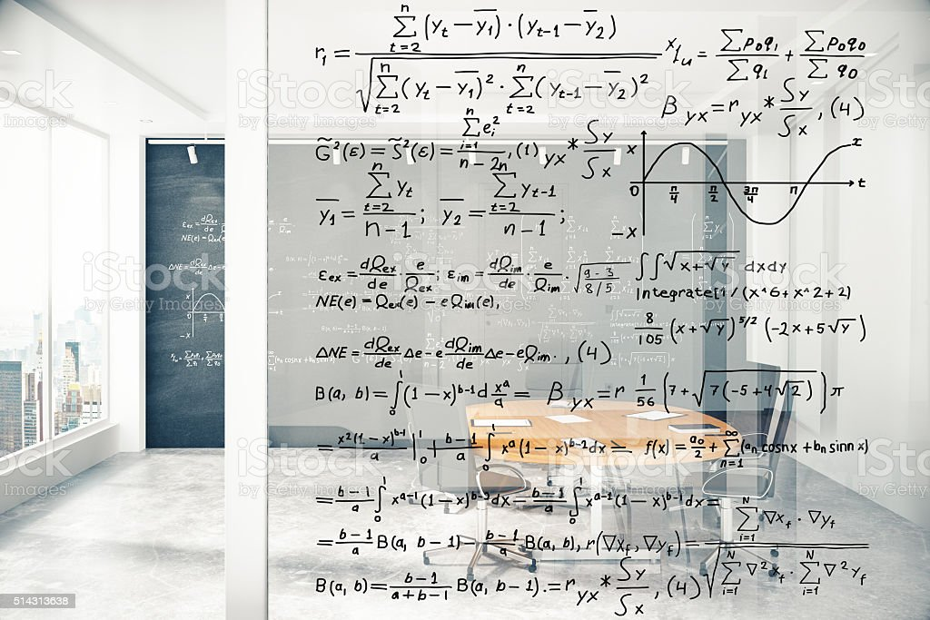 Transparent wall with equations in modern conference room stock photo