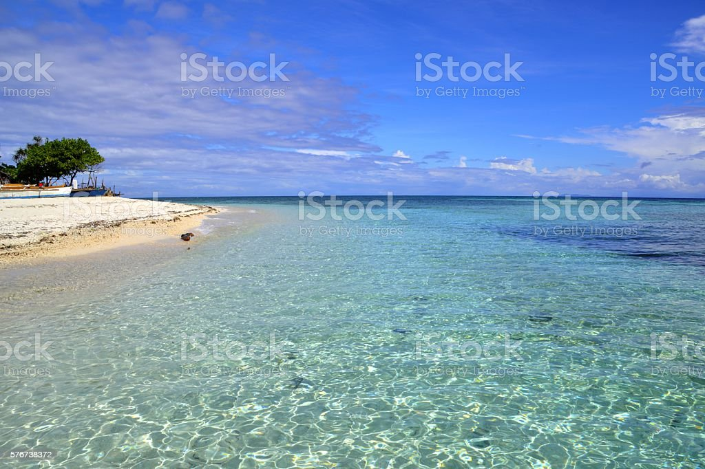 Transparent water at Mantigue Island, Camiguin, Philippines stock photo