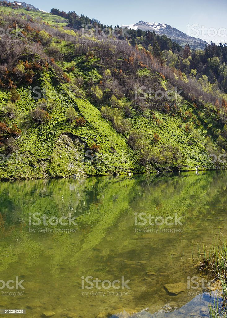 Transparent water Trout lake Teberdinsky reserve in the Western Caucasus stock photo