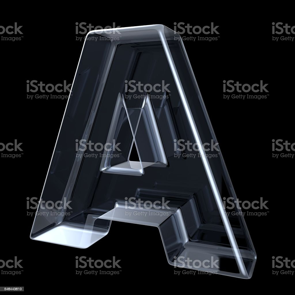 Transparent x-ray letter A. 3D stock photo
