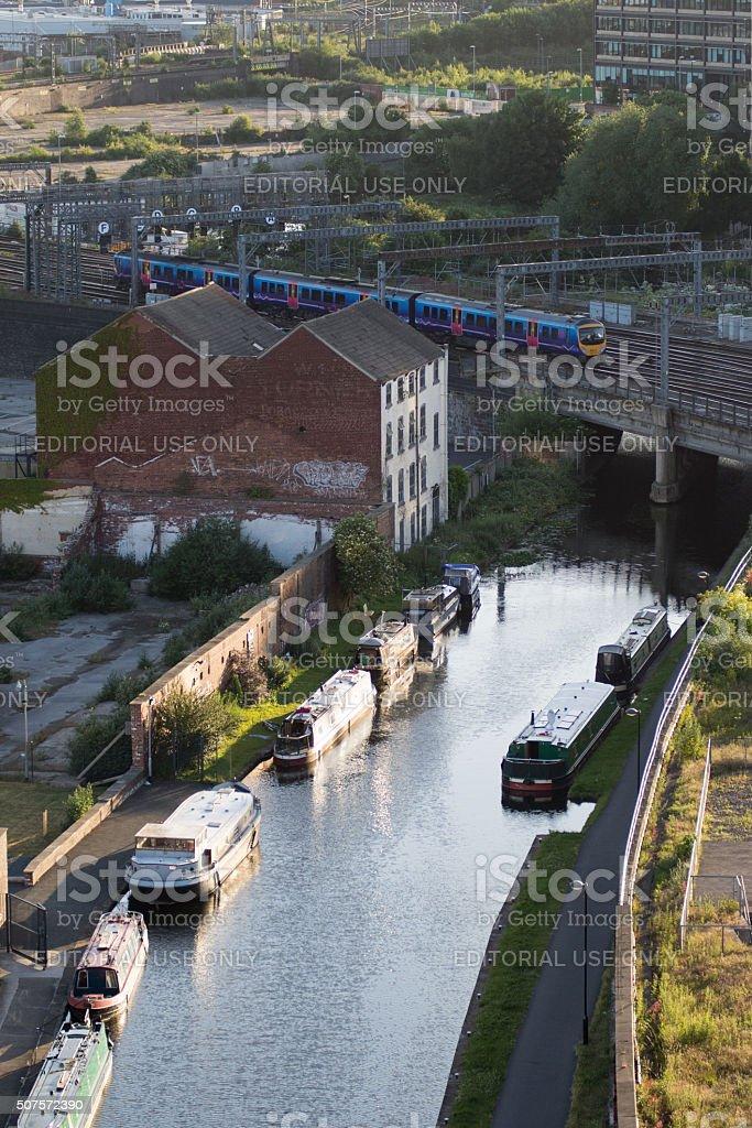 TransPennine Express train in Leeds stock photo