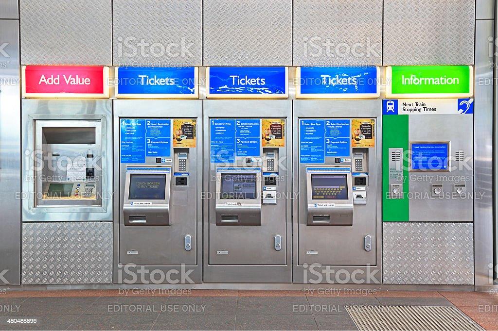 Transperth automatic ticket vending machines at Esplanade Railway Station stock photo