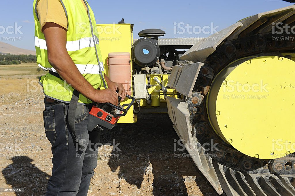 Transport crawler operator stock photo
