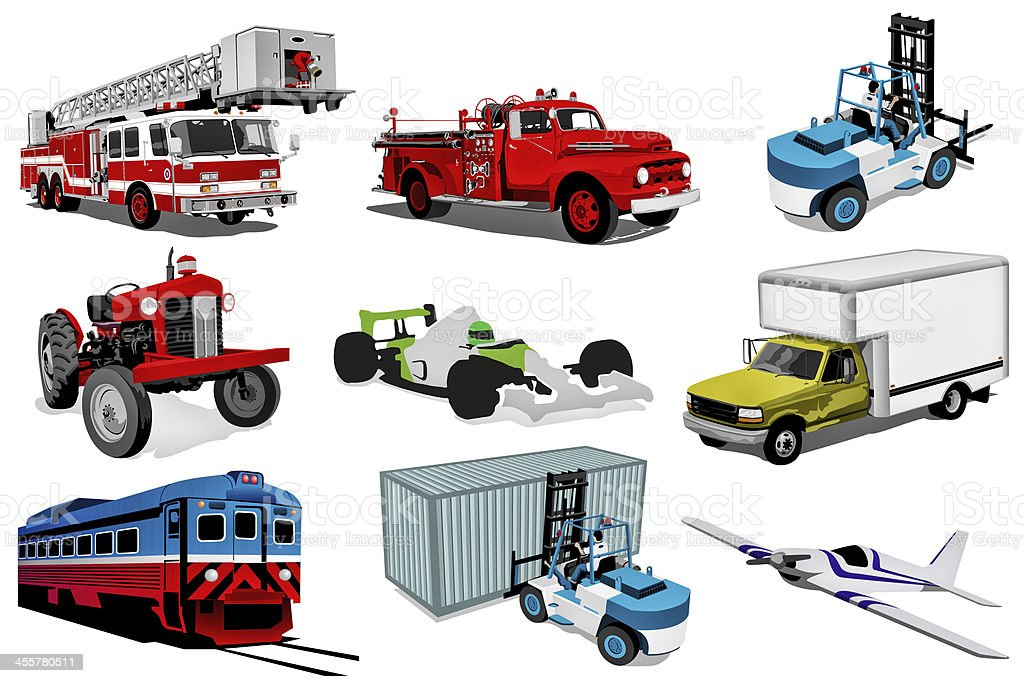 Transport illustration set stock photo