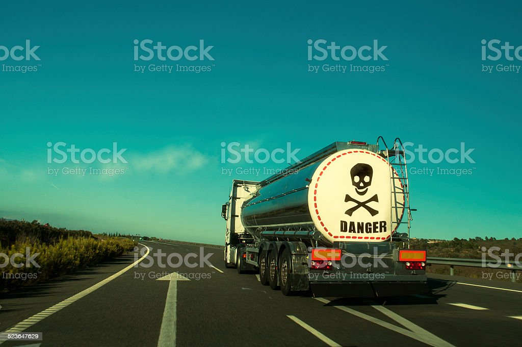 Transport of dangerous substances by road. stock photo