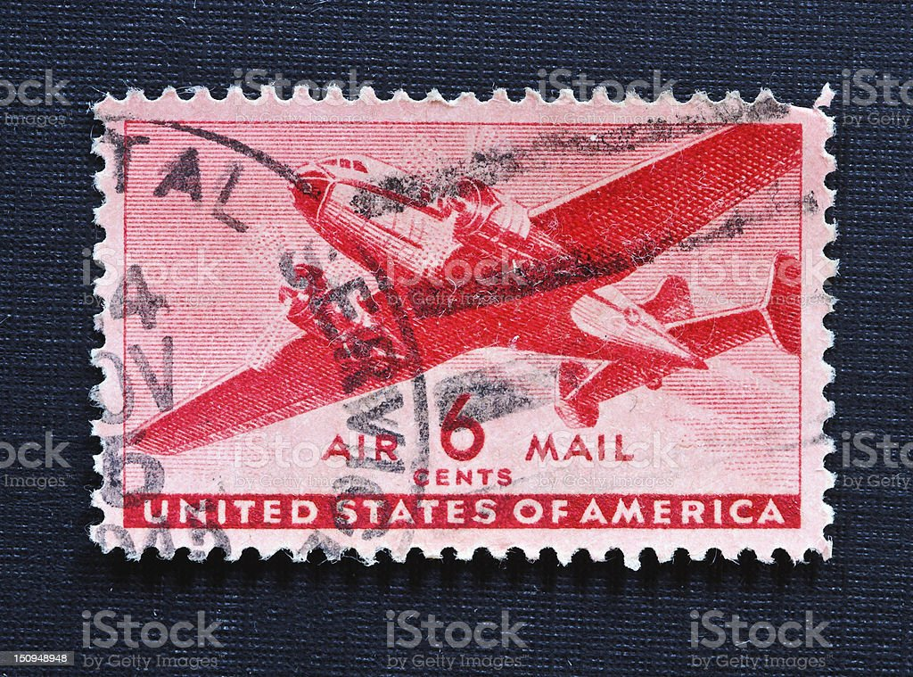 Transport Plane Airmail stamp 1941 royalty-free stock photo