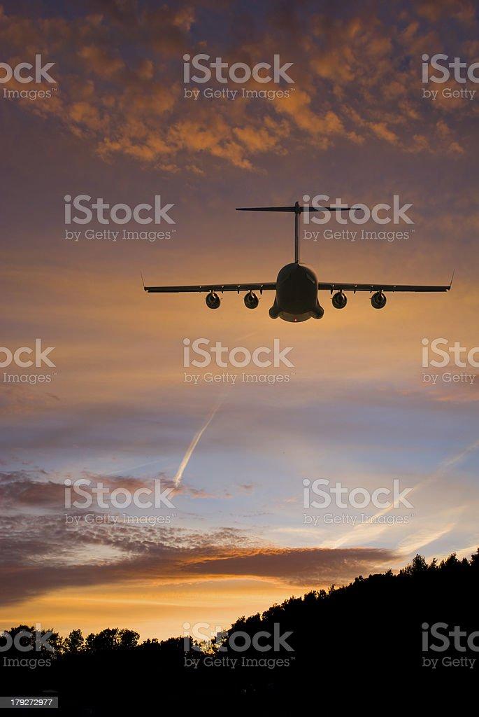 Transport Plane at Sunset royalty-free stock photo
