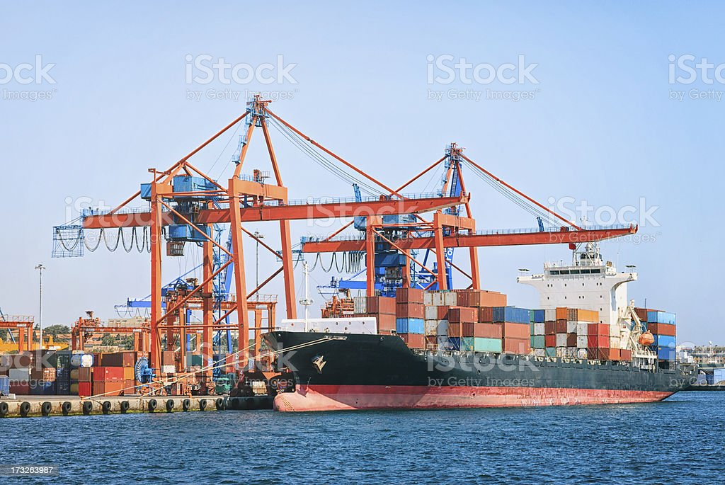 transport ship in the harbor royalty-free stock photo