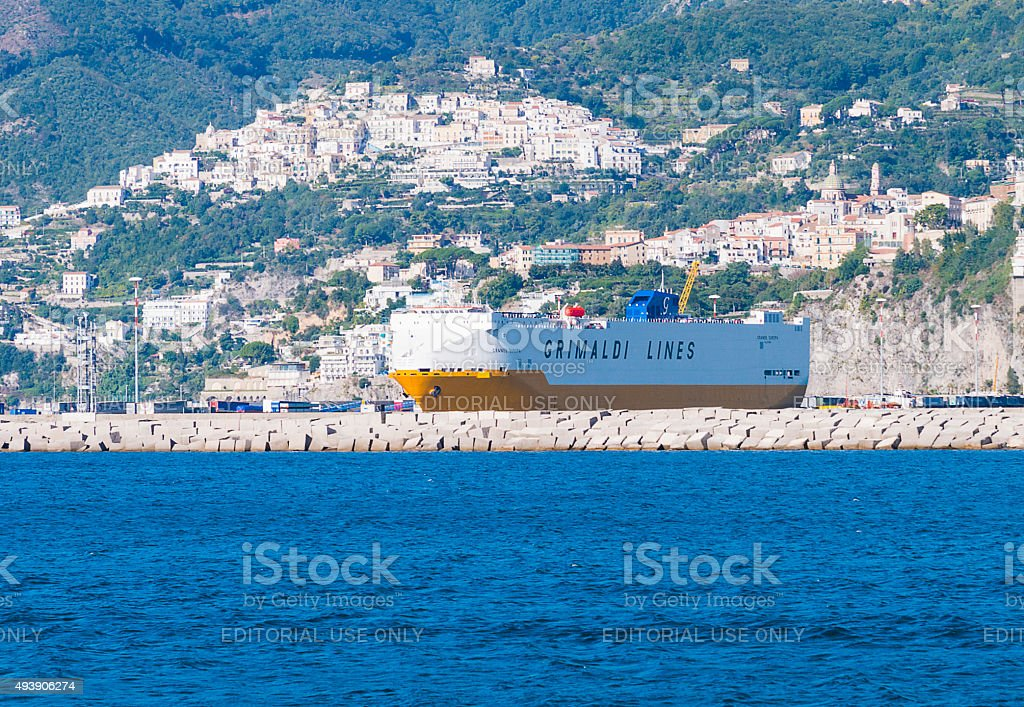 Transport ship of the Grimaldi Group which stands in port stock photo