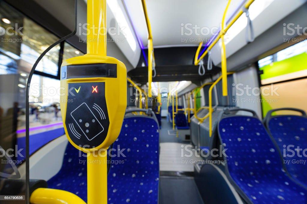 Transport ticket validator stock photo