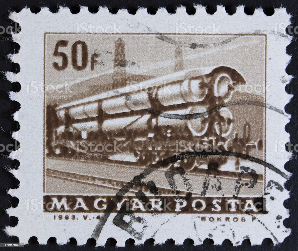 Transport train on stamp royalty-free stock photo