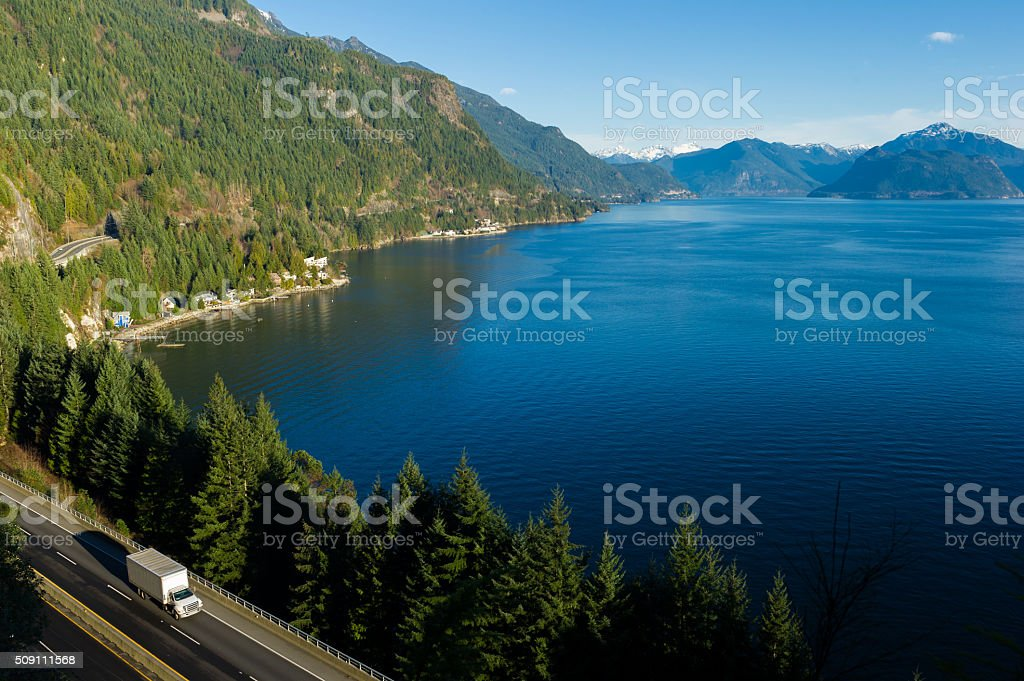 Transport truck driving along Highway 99, BC, Canada stock photo