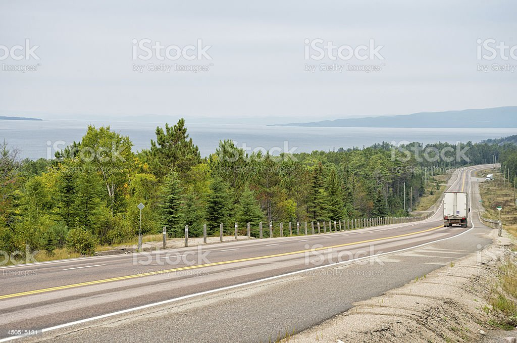 Transport truck on Trans-Canada Highway stock photo