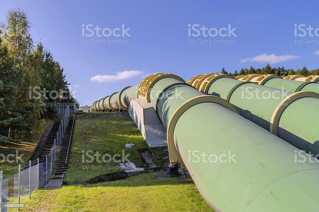 Transport water through pipes stock photo