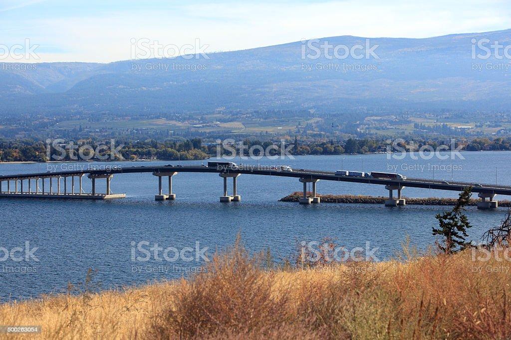 Transportation Across The Kelowna Bridge stock photo