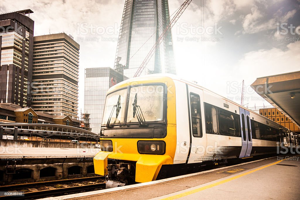 Transportation and skyscrapers in London stock photo