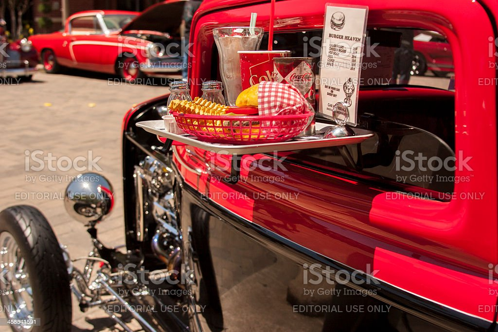 Transportation:  Classic vehicle show in downtown city area. stock photo