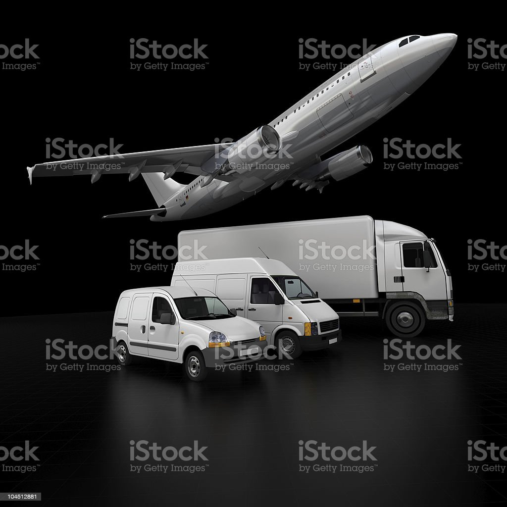 Transportation fleet on black royalty-free stock photo